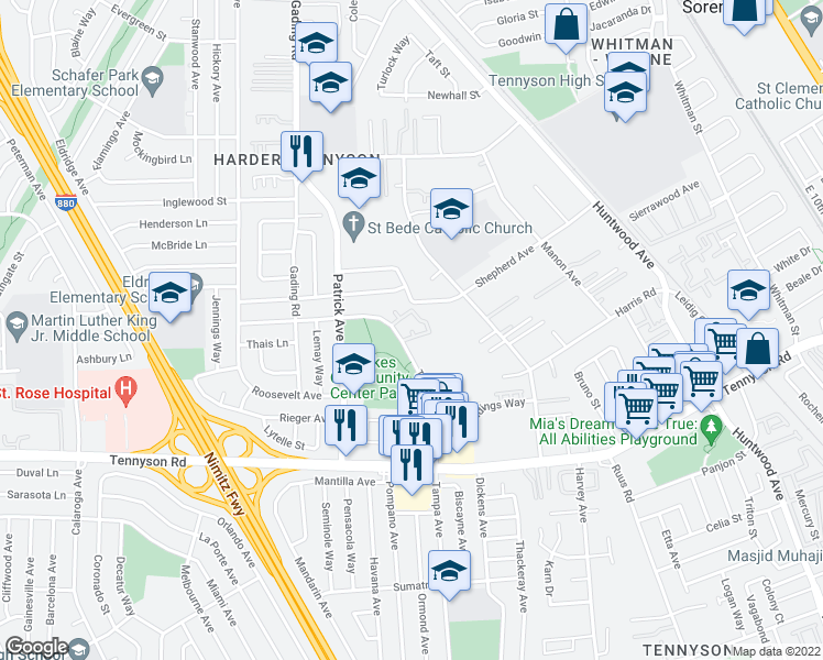 map of restaurants, bars, coffee shops, grocery stores, and more near Cheryl Ann Circle in Hayward