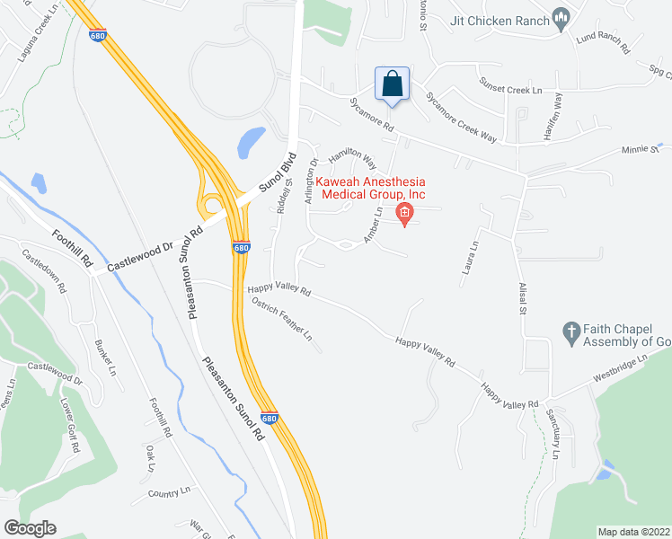 map of restaurants, bars, coffee shops, grocery stores, and more near 352 Brianne Court in Pleasanton