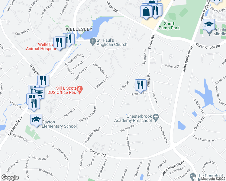 map of restaurants, bars, coffee shops, grocery stores, and more near 12109 Sable Ct in Henrico
