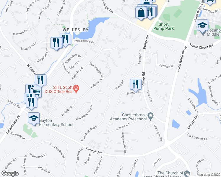 map of restaurants, bars, coffee shops, grocery stores, and more near 12109 Sable Court in Henrico
