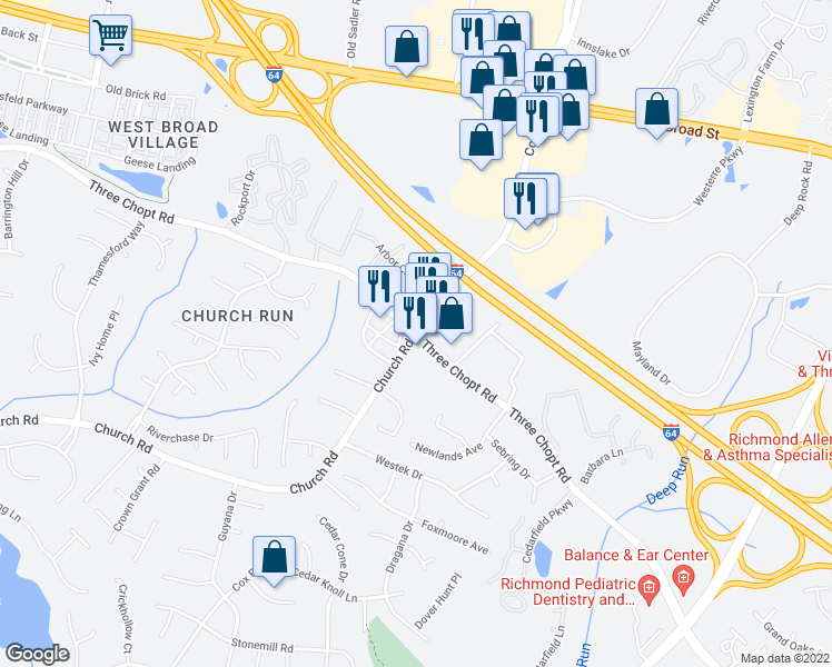 map of restaurants, bars, coffee shops, grocery stores, and more near 11042-11098 Three Chopt Road in Henrico