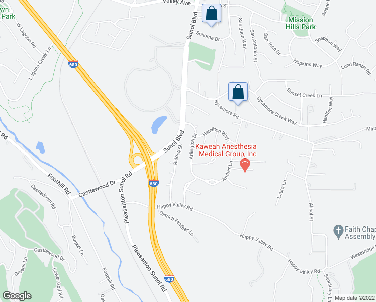 map of restaurants, bars, coffee shops, grocery stores, and more near 6607 Arlington Drive in Pleasanton