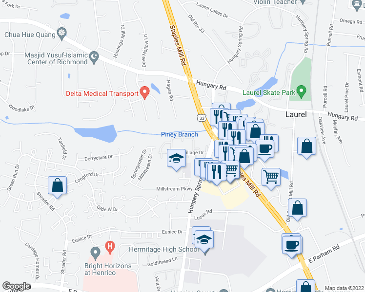 map of restaurants, bars, coffee shops, grocery stores, and more near 9318 Tarheel Terrace in Richmond