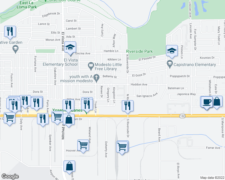 map of restaurants, bars, coffee shops, grocery stores, and more near 219 Kingston Lane in Modesto