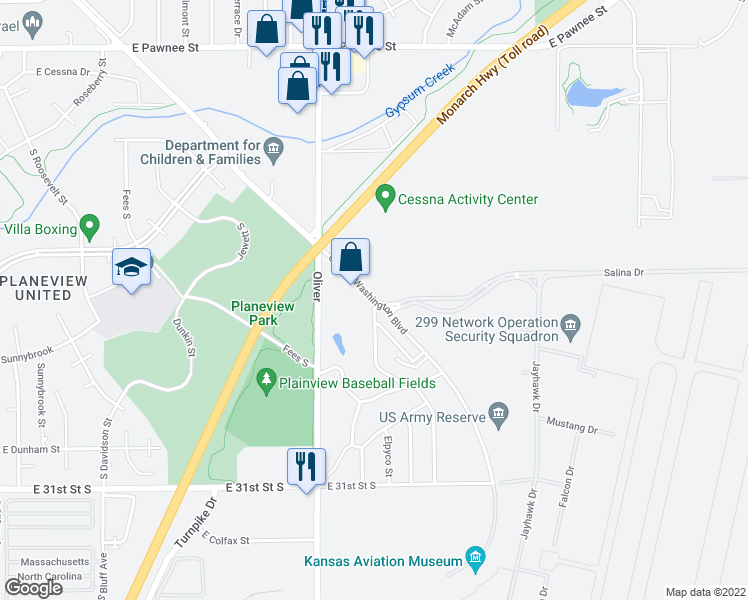 map of restaurants, bars, coffee shops, grocery stores, and more near 2919 George Washington Boulevard in Wichita