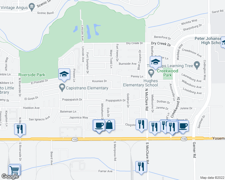 map of restaurants, bars, coffee shops, grocery stores, and more near 3124 Trudi Way in Modesto