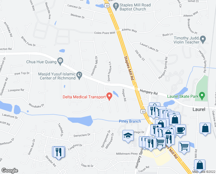 map of restaurants, bars, coffee shops, grocery stores, and more near 8308 Laurel Ridge Terrace in Glen Allen