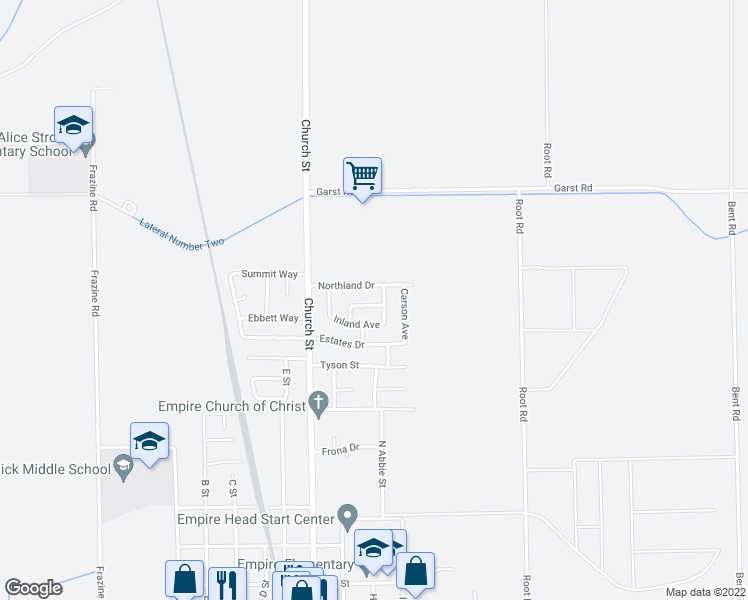 map of restaurants, bars, coffee shops, grocery stores, and more near 5121 Loretta Avenue in Modesto
