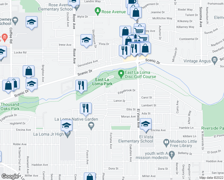 map of restaurants, bars, coffee shops, grocery stores, and more near 704 Sandy View Court in Modesto