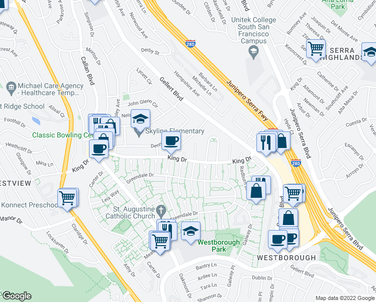 map of restaurants, bars, coffee shops, grocery stores, and more near 88 Amhurst Court in Daly City