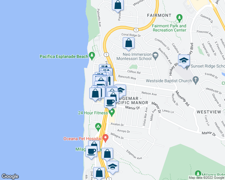 map of restaurants, bars, coffee shops, grocery stores, and more near 411 Oceana Boulevard in Pacifica