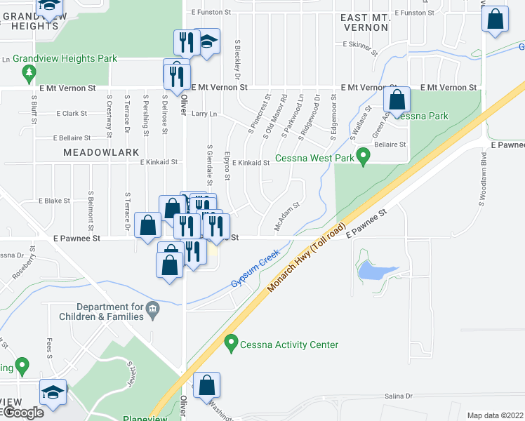 map of restaurants, bars, coffee shops, grocery stores, and more near 2311 South Ridgewood Drive in Wichita