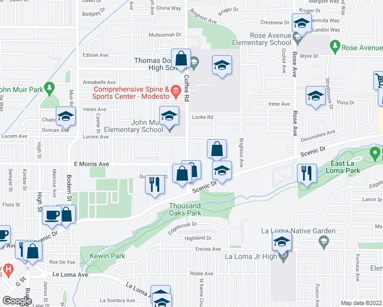 map of restaurants, bars, coffee shops, grocery stores, and more near 530 Coffee Road in Modesto