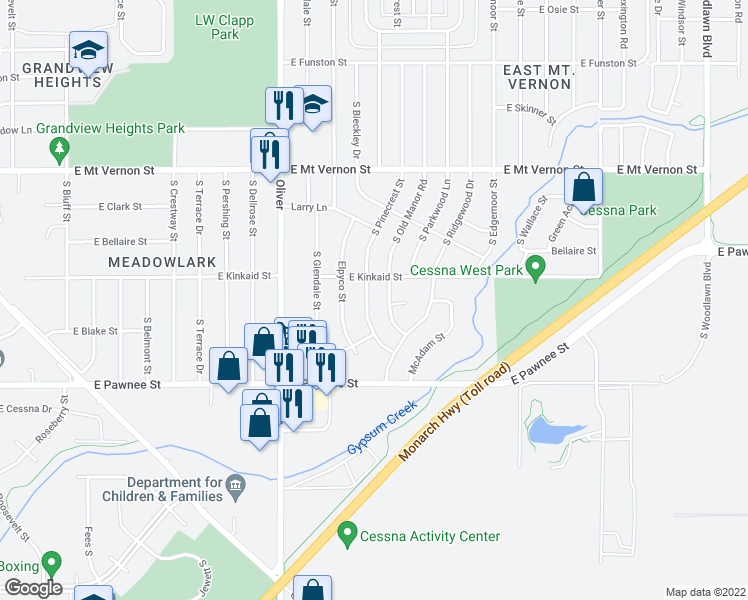 map of restaurants, bars, coffee shops, grocery stores, and more near 2226 South Pinecrest Street in Wichita