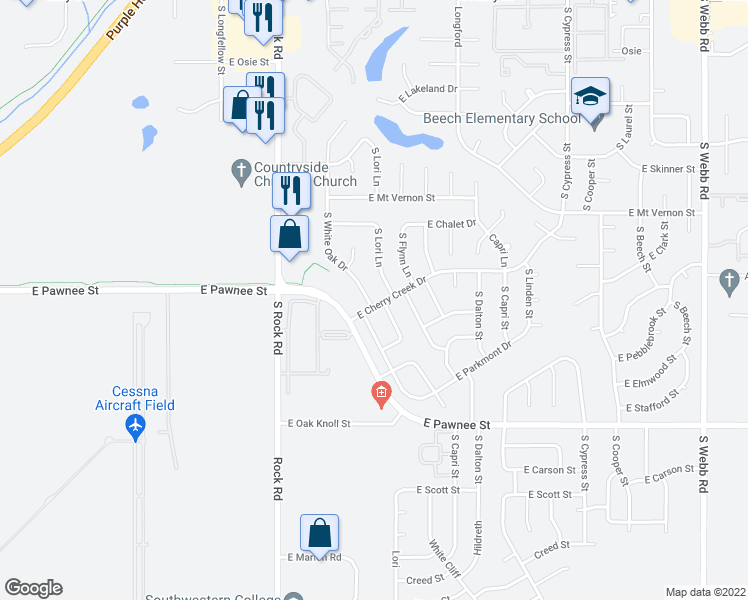 map of restaurants, bars, coffee shops, grocery stores, and more near 2160 South White Oak Drive in Wichita