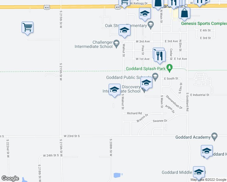 map of restaurants, bars, coffee shops, grocery stores, and more near 200-333 South Walnut Street in Goddard