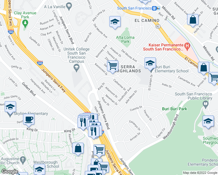 map of restaurants, bars, coffee shops, grocery stores, and more near 370 Altamont Drive in South San Francisco