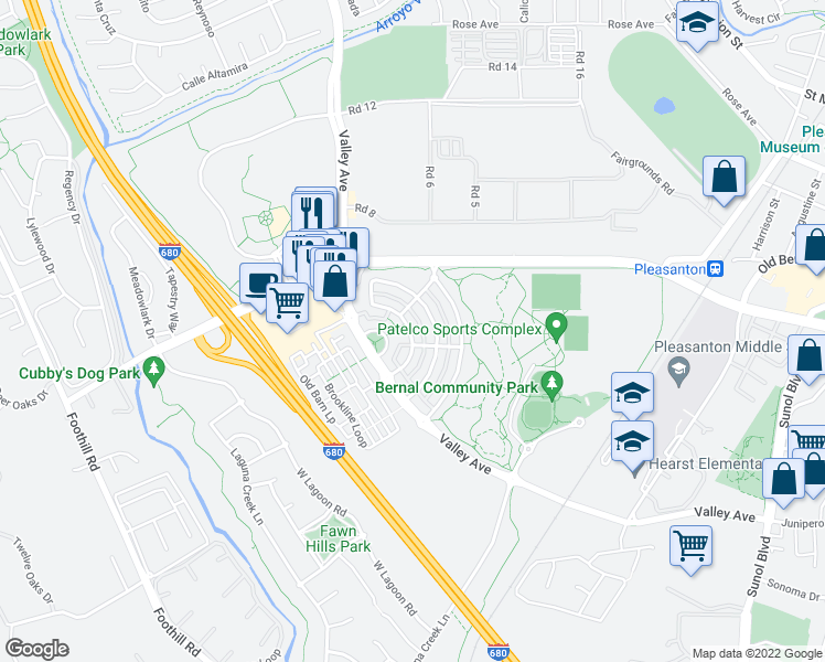 map of restaurants, bars, coffee shops, grocery stores, and more near 1549 East Gate Way in Pleasanton