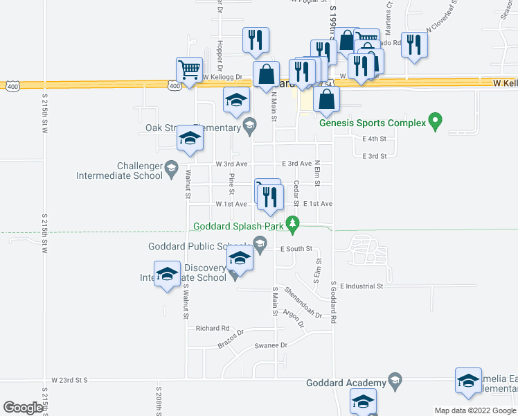 map of restaurants, bars, coffee shops, grocery stores, and more near 125 West 1st Avenue in Goddard