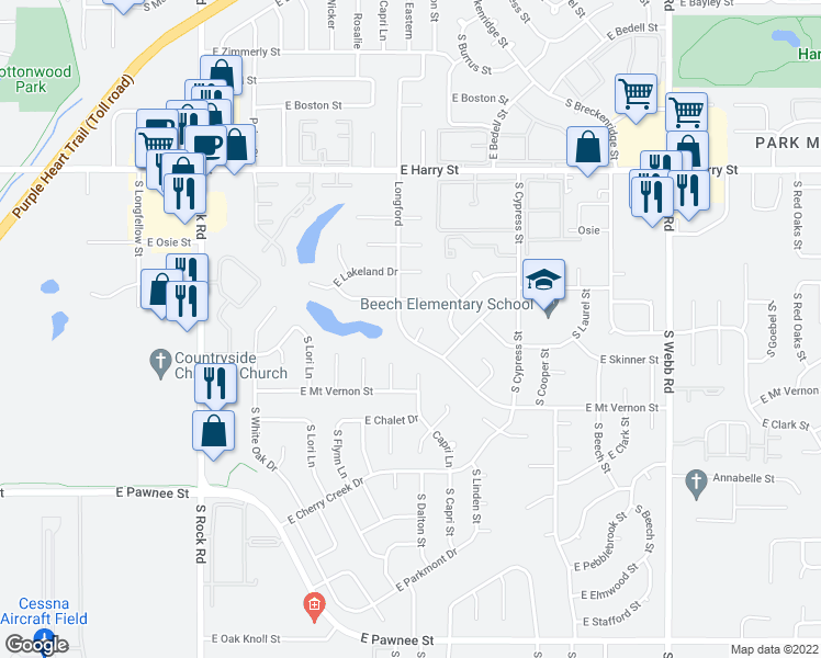 map of restaurants, bars, coffee shops, grocery stores, and more near 1800 South Longford Court in Wichita