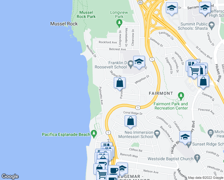 map of restaurants, bars, coffee shops, grocery stores, and more near 5009 Palmetto Avenue in Pacifica