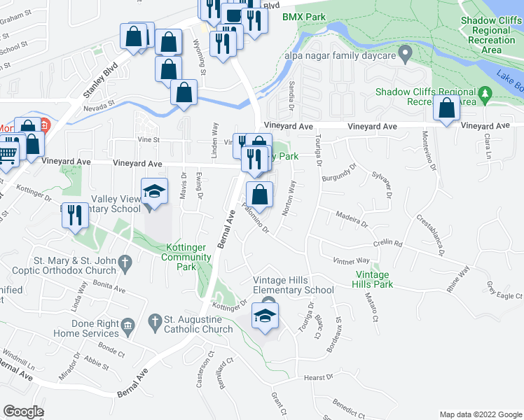 map of restaurants, bars, coffee shops, grocery stores, and more near 671 Concord Place in Pleasanton
