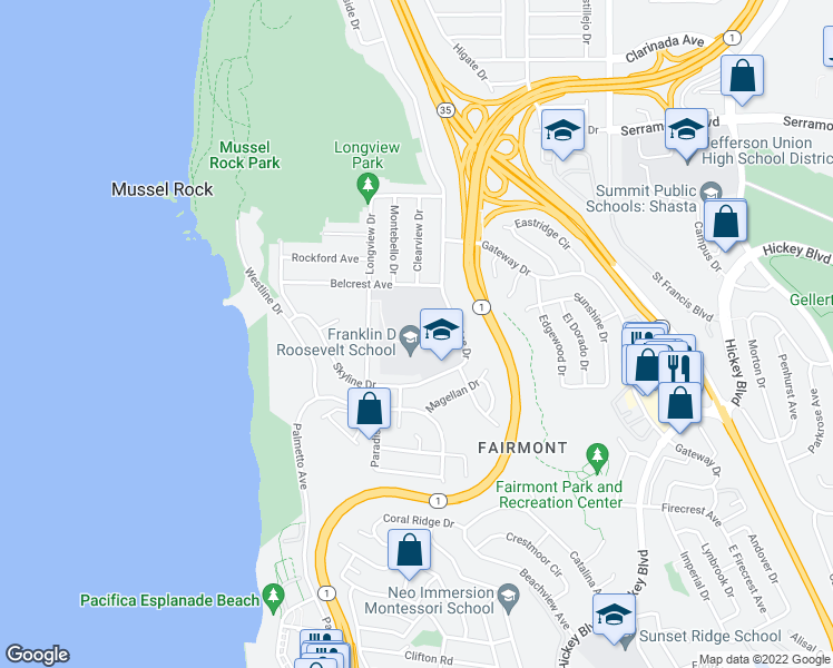 map of restaurants, bars, coffee shops, grocery stores, and more near 1200-1202 Skyline Drive in Daly City