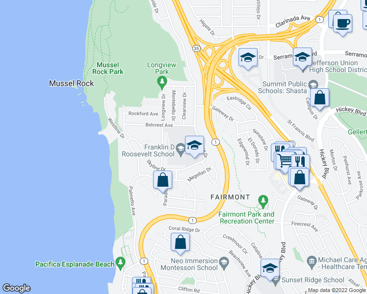 map of restaurants, bars, coffee shops, grocery stores, and more near 1200-1250 Skyline Drive in Daly City