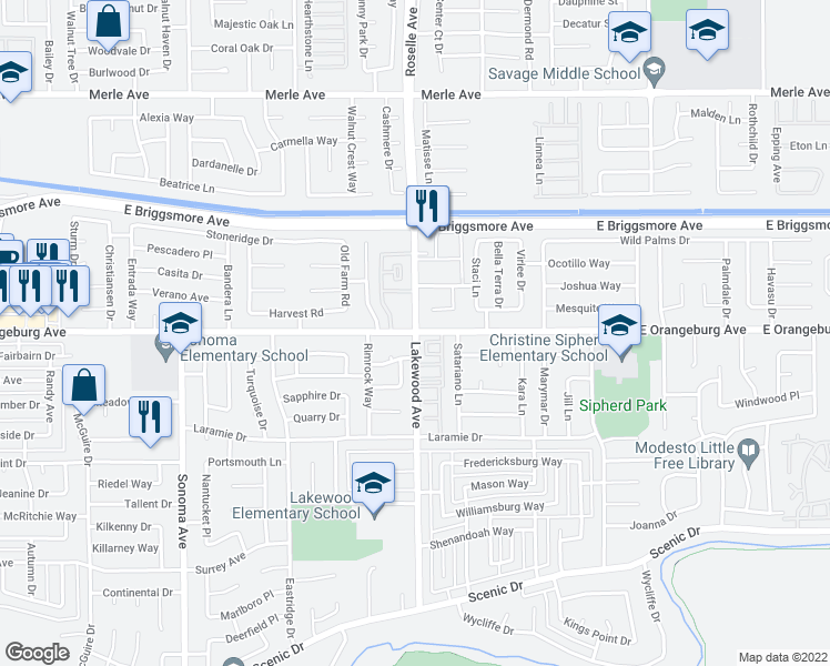 map of restaurants, bars, coffee shops, grocery stores, and more near 3000 East Orangeburg Avenue in Modesto