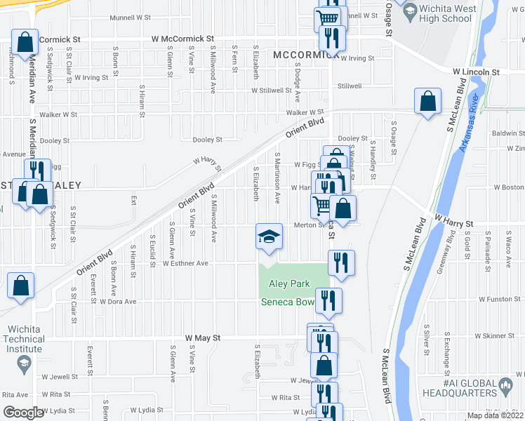 map of restaurants, bars, coffee shops, grocery stores, and more near 1634 South Elizabeth Street in Wichita
