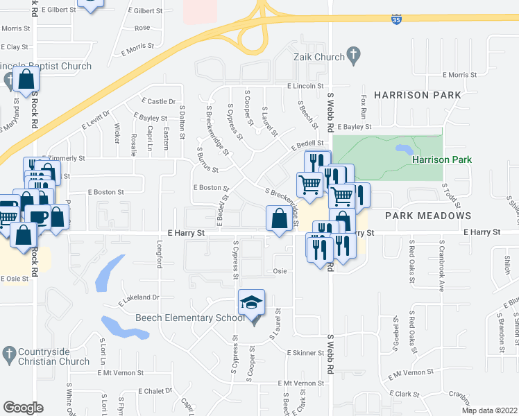 map of restaurants, bars, coffee shops, grocery stores, and more near 9100 East Harry Street in Wichita