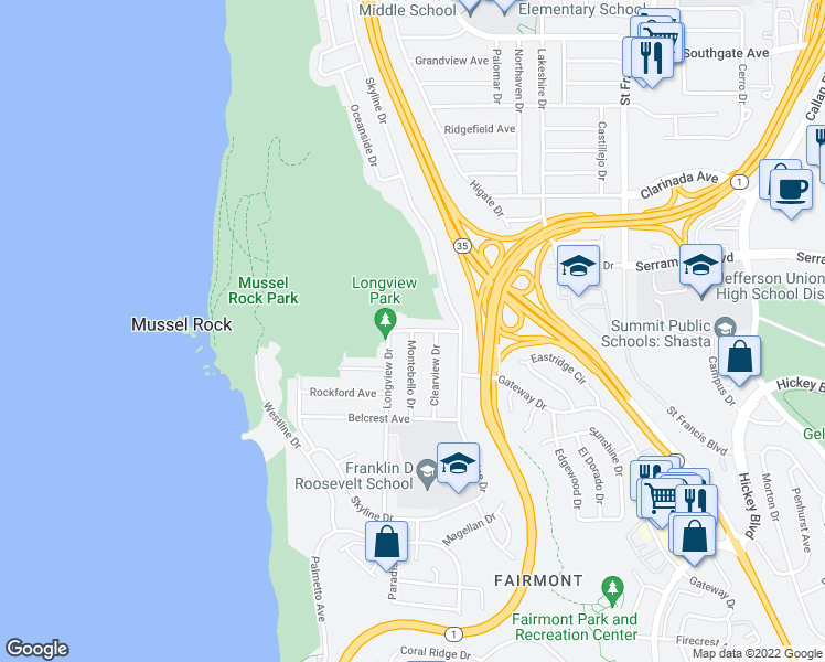map of restaurants, bars, coffee shops, grocery stores, and more near Longview Drive & Montebello Drive in Daly City