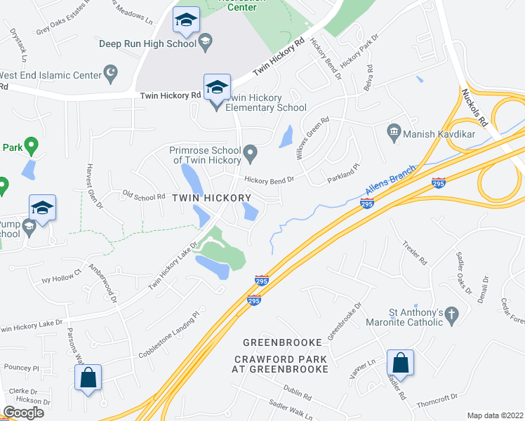 map of restaurants, bars, coffee shops, grocery stores, and more near 4700 The Gardens Drive in Glen Allen