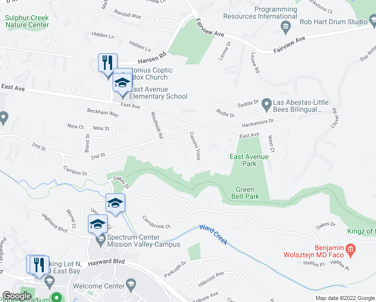 map of restaurants, bars, coffee shops, grocery stores, and more near 25626 West Camino Vista in Hayward