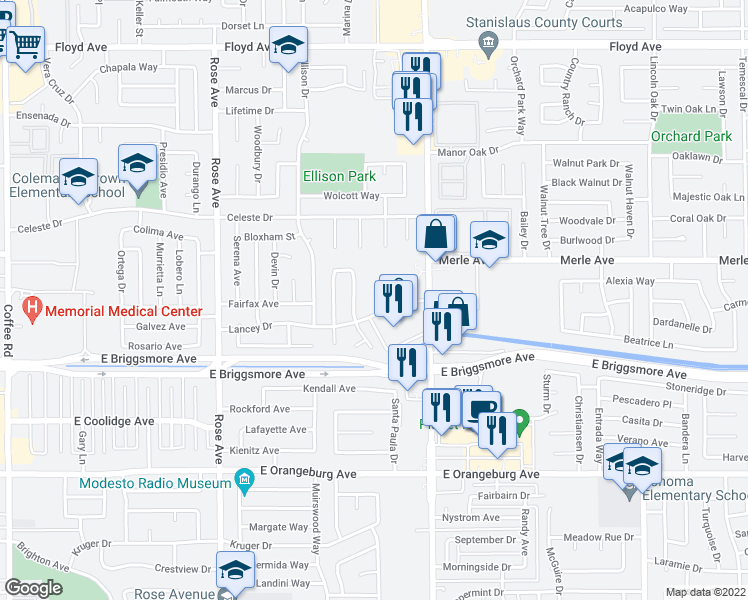 map of restaurants, bars, coffee shops, grocery stores, and more near 2041 Lancey Drive in Modesto