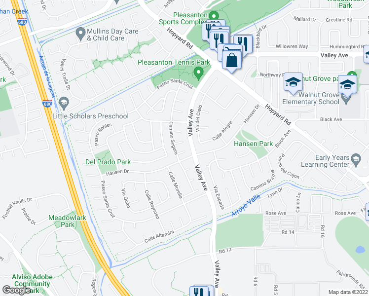 map of restaurants, bars, coffee shops, grocery stores, and more near 6143 Corte Trancas in Pleasanton