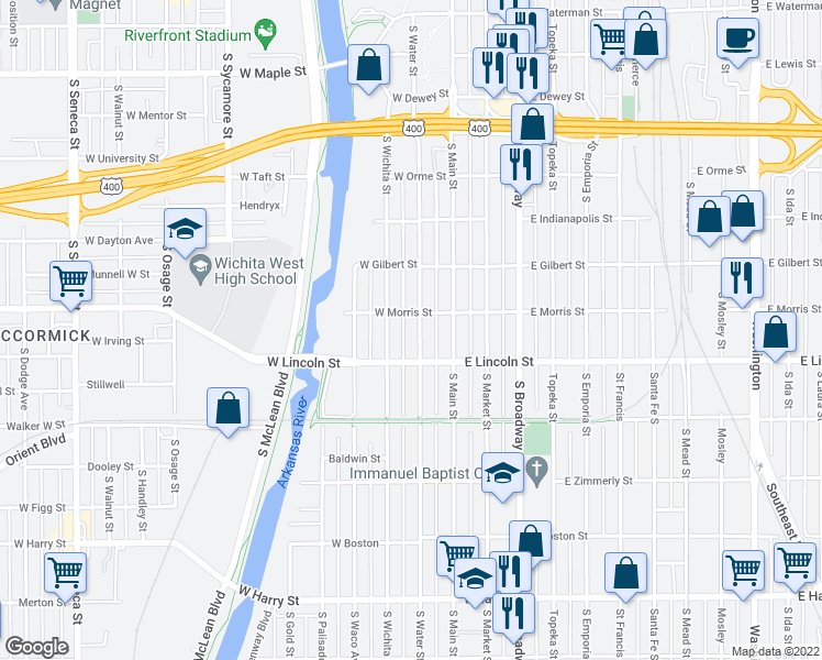 map of restaurants, bars, coffee shops, grocery stores, and more near 1115 South Water Street in Wichita