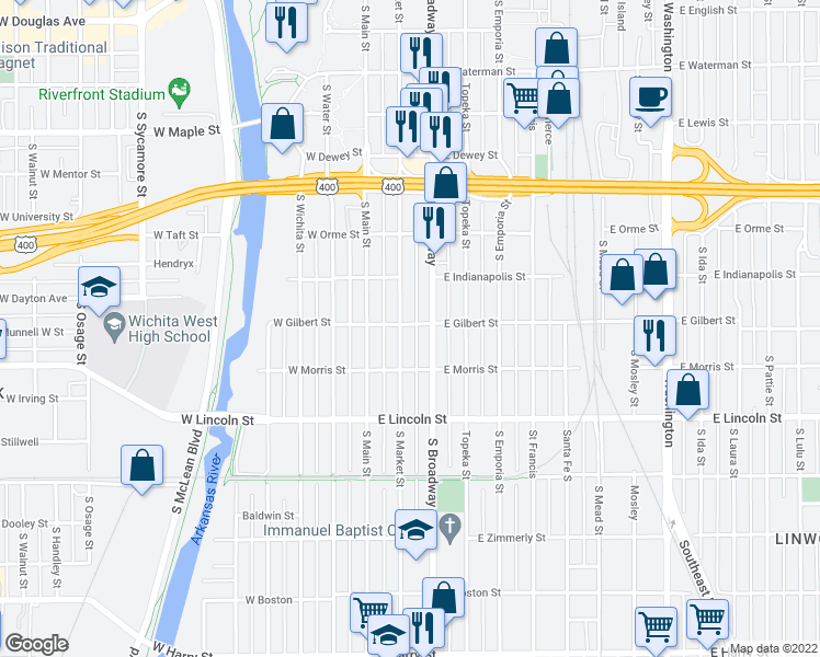 map of restaurants, bars, coffee shops, grocery stores, and more near 1002 South Market Street in Wichita