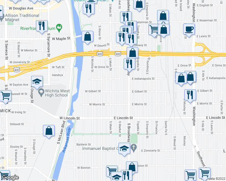 map of restaurants, bars, coffee shops, grocery stores, and more near 114 East Gilbert Street in Wichita