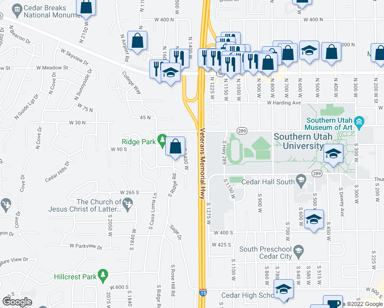 map of restaurants, bars, coffee shops, grocery stores, and more near 111 South 1400 West in Cedar City