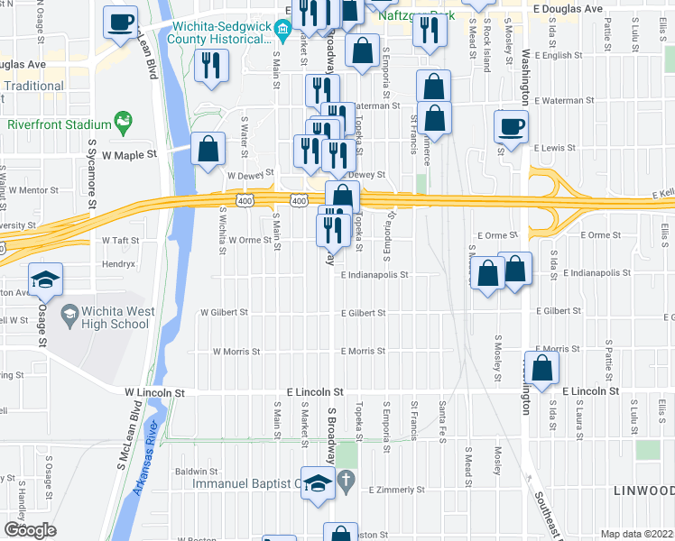 map of restaurants, bars, coffee shops, grocery stores, and more near 304 East Indianapolis Street in Wichita