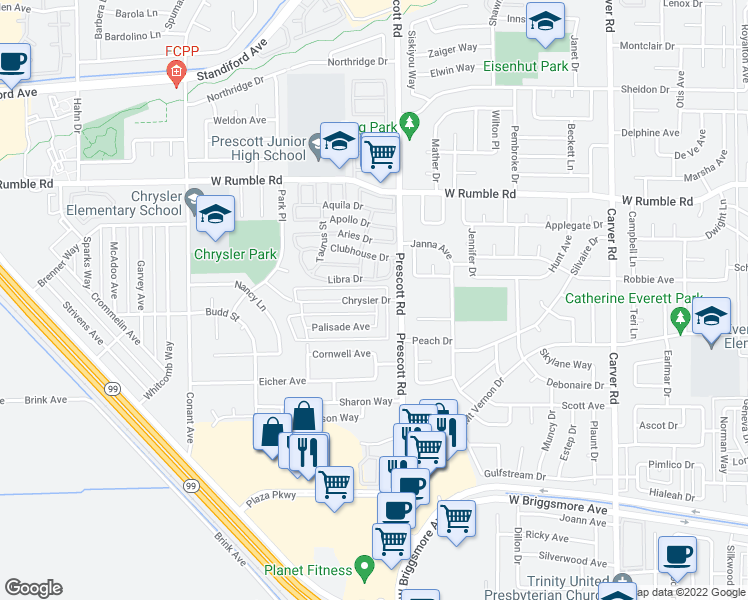 map of restaurants, bars, coffee shops, grocery stores, and more near 2105 Chrysler Drive in Modesto