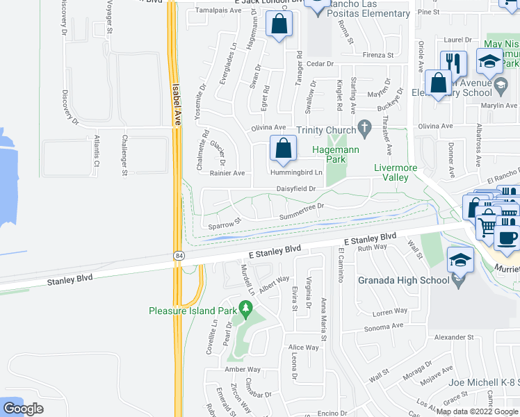 map of restaurants, bars, coffee shops, grocery stores, and more near 41 Snowball Court in Livermore
