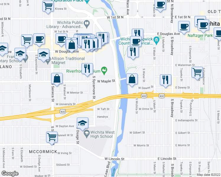 map of restaurants, bars, coffee shops, grocery stores, and more near 411 West Maple Street in Wichita