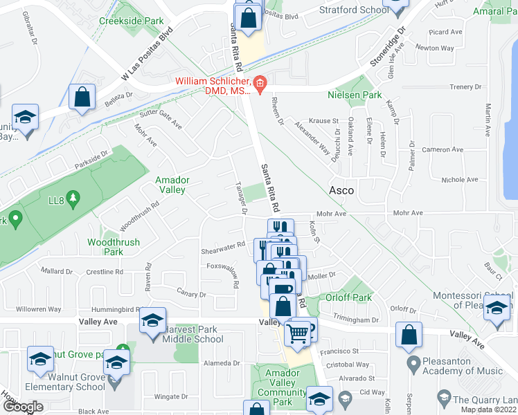 map of restaurants, bars, coffee shops, grocery stores, and more near 4408 Mohr Avenue in Pleasanton