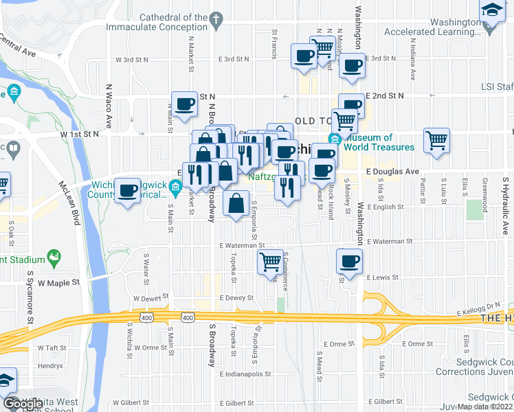 map of restaurants, bars, coffee shops, grocery stores, and more near 298 South Emporia Street in Wichita
