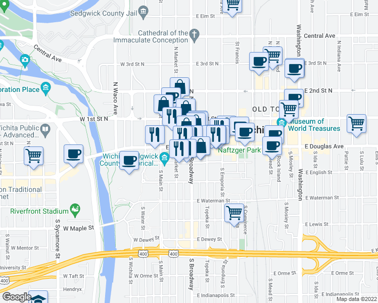 map of restaurants, bars, coffee shops, grocery stores, and more near 105 South Broadway Street in Wichita