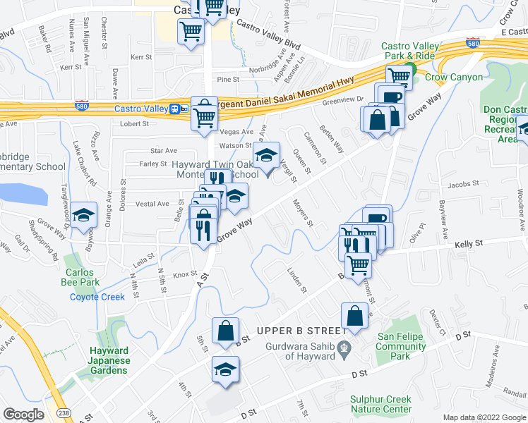 map of restaurants, bars, coffee shops, grocery stores, and more near 2525 Grove Way in Hayward