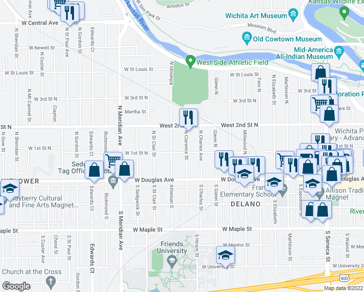 map of restaurants, bars, coffee shops, grocery stores, and more near 211 North Clarence Street in Wichita
