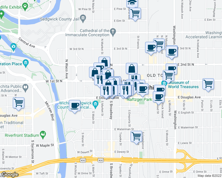 map of restaurants, bars, coffee shops, grocery stores, and more near 9502 West Ryan Street in Wichita